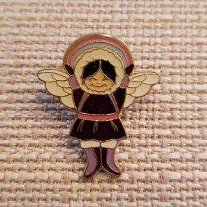 Vintage snow angel lapel pin